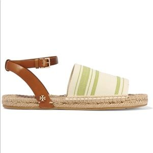 Tory Burch Jute and Canvas Ankle Strap Sandals